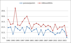 Toukokuun alun kaakkoisvirtaukset toivat idänuunilinnun ja punavarpusen Keski-Suomeen ennennäkemättömän varhain.